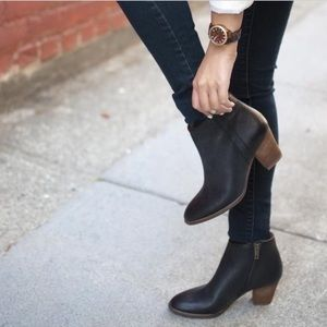 Madewell Billie Black Leather Ankle Boots Booties